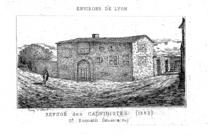 Mairie de Saint Romain au Mont d'or: gravure du Temple Protestant de Saint-Romain-de-Couzon (1630-1685)