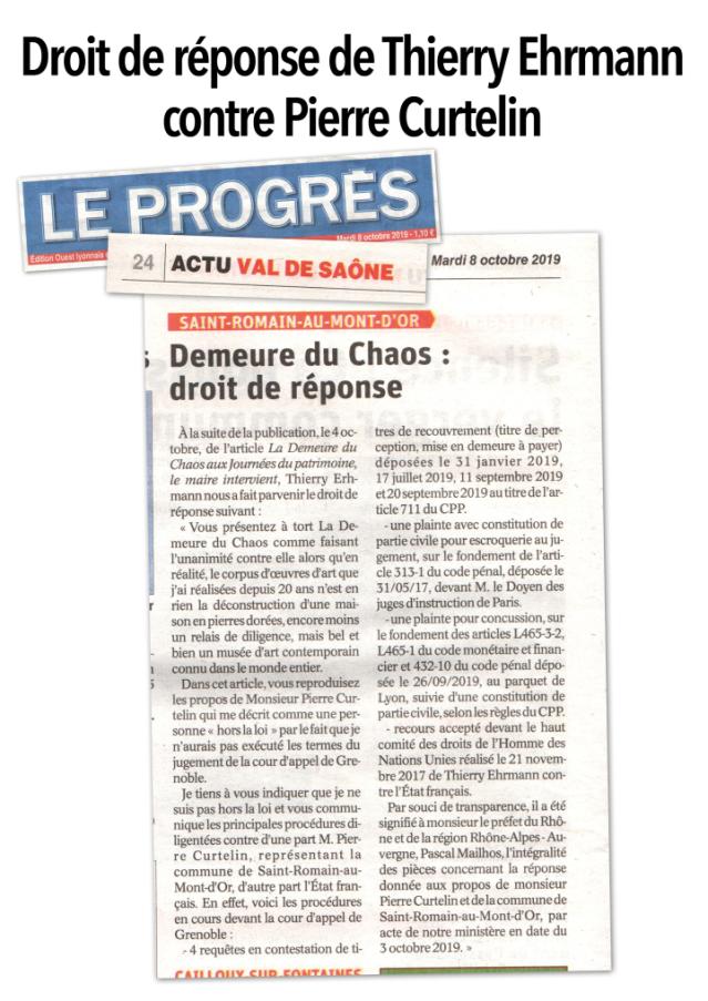 Droit de réponse de thierry Ehrmann in « Le Progrès » 8 octobre 2019